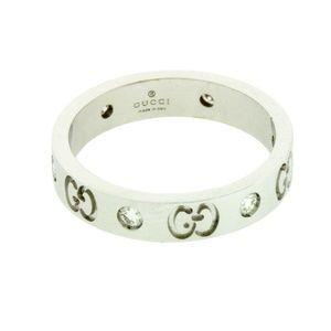 5fda16aefe809d GUCCI Jewelry | Diamond Icon Thin Band Ring In 18k | Poshmark